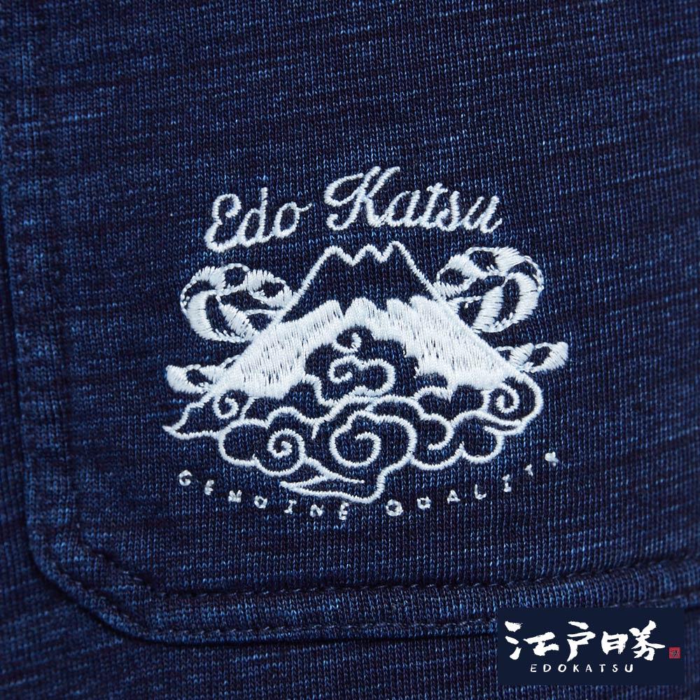 EDOKATSU江戶勝 INDIGO繡花抽繩 棉質短褲-男款 酵洗藍 SHORTS 8