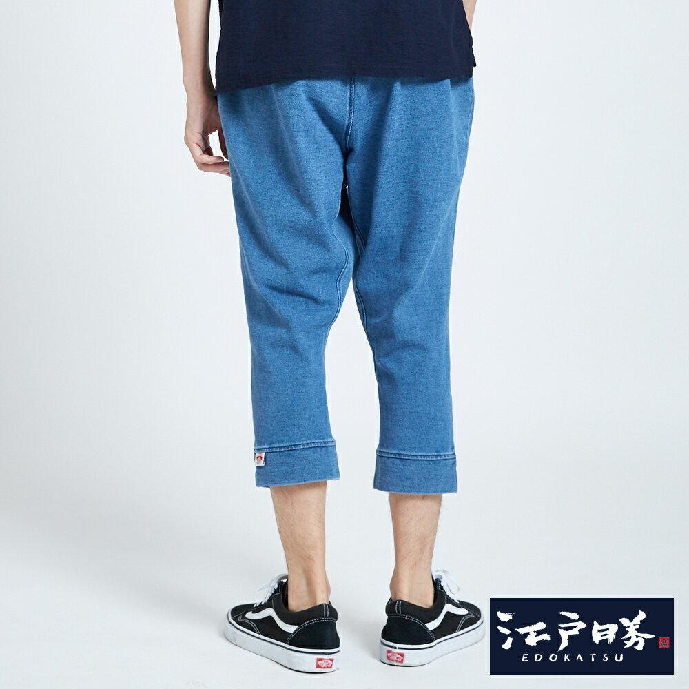 EDOKATSU江戶勝 INDIGO印花 七分牛仔落檔褲-男款 漂淺藍 CROPPED CAPRI PANTS 2