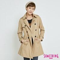 風衣外套推薦到SOMETHING 都會修身 雙排釦風衣外套-女款 灰卡其 零碼就在EDWIN推薦風衣外套