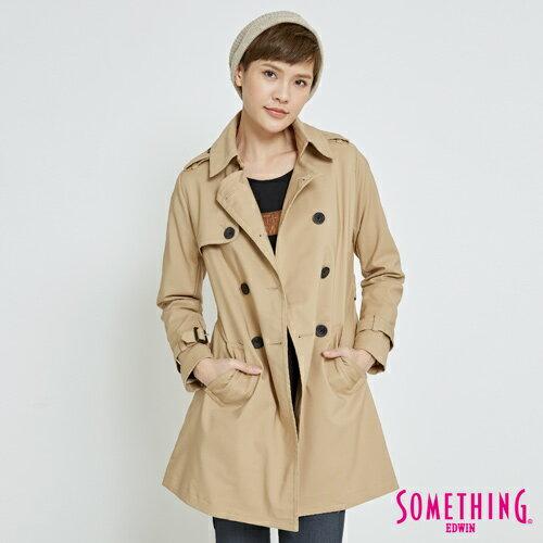 【1500元優惠↘】SOMETHING都會修身雙排釦風衣外套-女款灰卡其【5月會員消費滿3000元再賺15%點數】