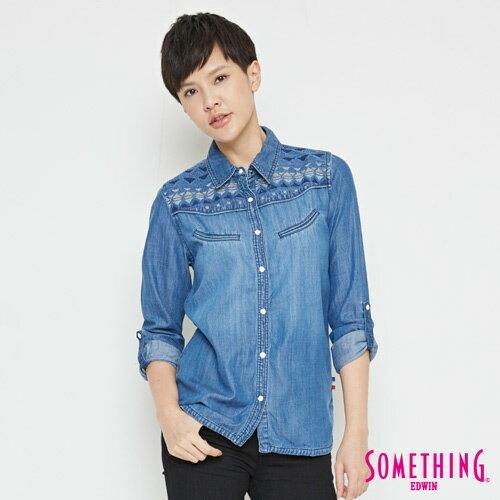 SOMETHING 圖騰刺繡 牛仔襯衫-女款 中古藍