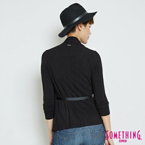 SOMETHING 假兩件 綁帶罩衫上衣-女款 黑色 1