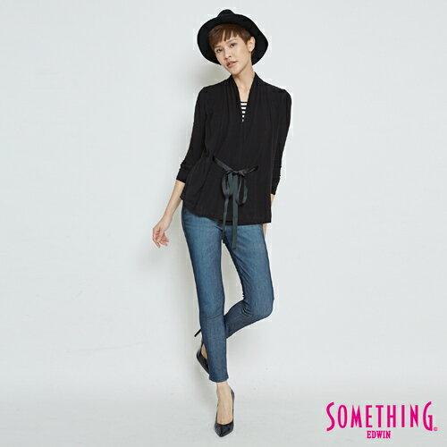 SOMETHING 假兩件 綁帶罩衫上衣-女款 黑色 3