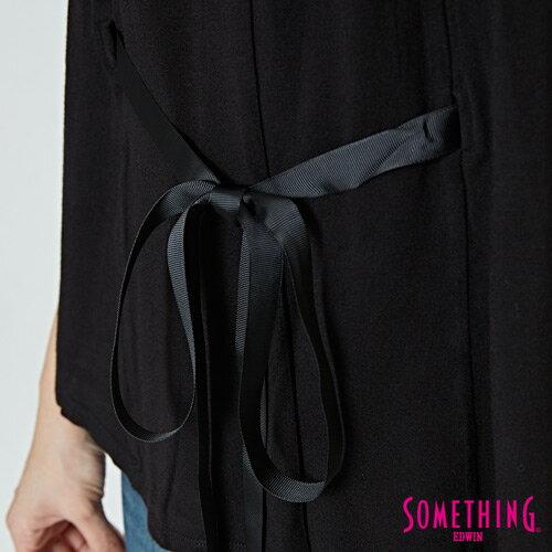SOMETHING 假兩件 綁帶罩衫上衣-女款 黑色 4