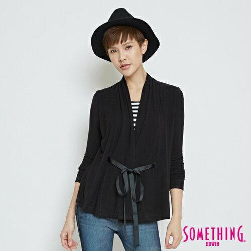 SOMETHING 假兩件 綁帶罩衫上衣-女款 黑色 0