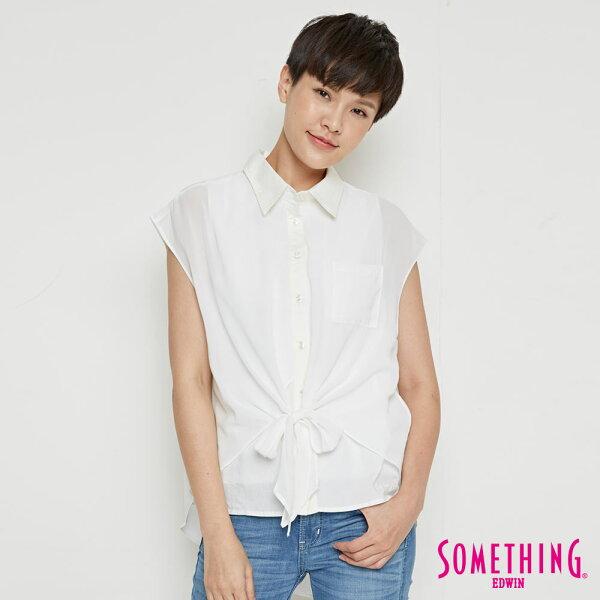 【690元優惠↘】SOMETHING異素材雙層短袖襯衫-女款白色
