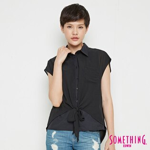 【690元優惠↘】SOMETHING異素材雙層短袖襯衫-女款黑色