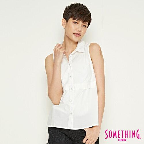 ~ 5折↘~SOMETHING 氣質蕾絲剪接 無袖襯衫~女款 白色