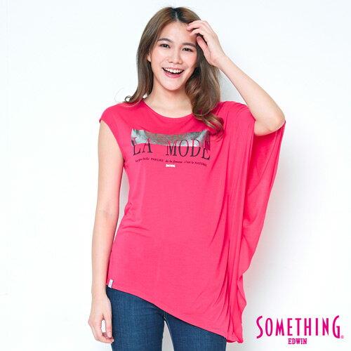 【490元優惠↘】SOMETHING不對稱造型短袖T恤-女款桃紅