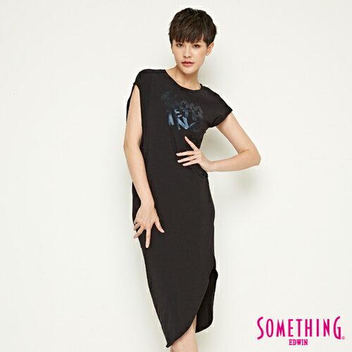 【490元優惠↘】SOMETHING不對襯側開叉修身洋裝-女款黑色