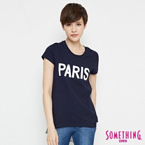 【490元優惠↘】SOMETHING 條紋雪紡剪接 短袖T恤-女款 原藍