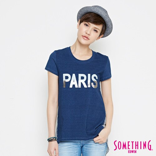 【490元優惠↘】SOMETHING 條紋雪紡剪接 短袖T恤-女款 拔淺藍