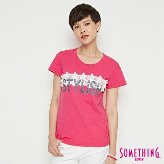 【490元優惠↘】SOMETHING 布蕾絲釘珠 短袖T恤-女款 桃紅色【新會員及一般會員限定  消費滿599結帳輸入New1803現折100元  限用一次】