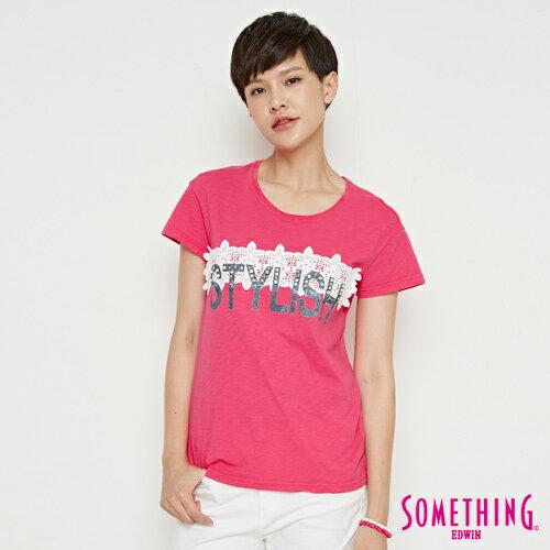 【490元優惠↘】SOMETHING布蕾絲釘珠短袖T恤-女款桃紅色【7月會員神券APP結帳