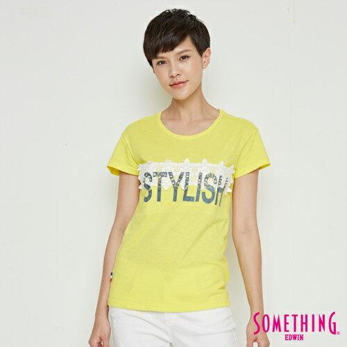 【490元優惠↘】SOMETHING布蕾絲釘珠短袖T恤-女款黃色【5月會員消費滿3000元再賺15%點數】