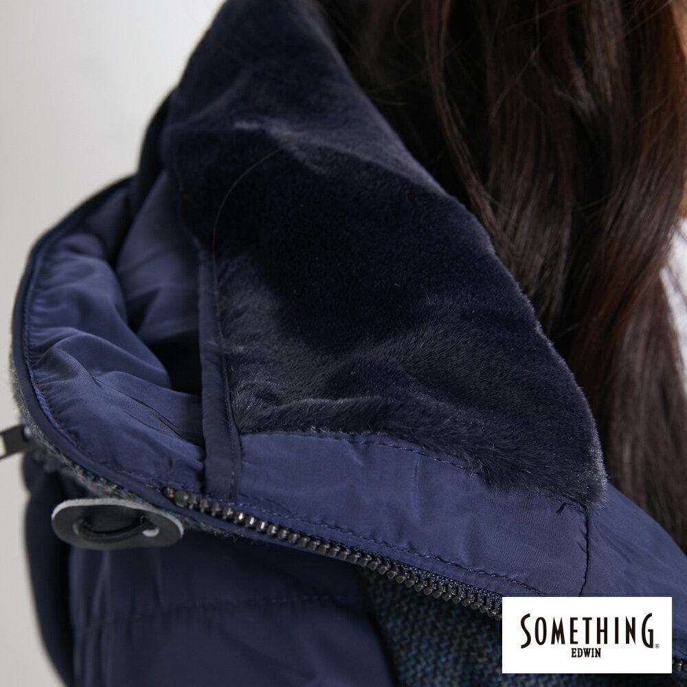 SOMETHING 混毛剪接短版 保溫防寒外套 (隱藏可收連帽) -女款 丈青色 5