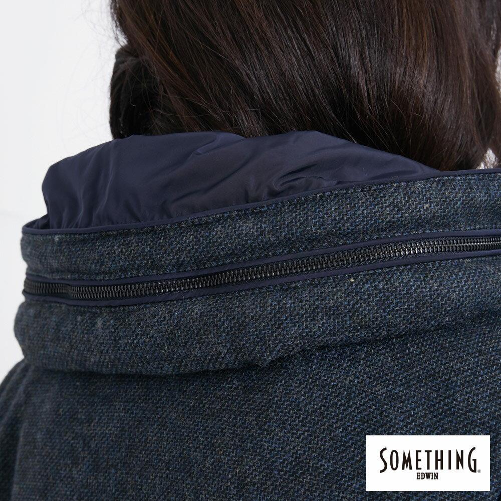 SOMETHING 混毛剪接短版 保溫防寒外套 (隱藏可收連帽) -女款 丈青色 6