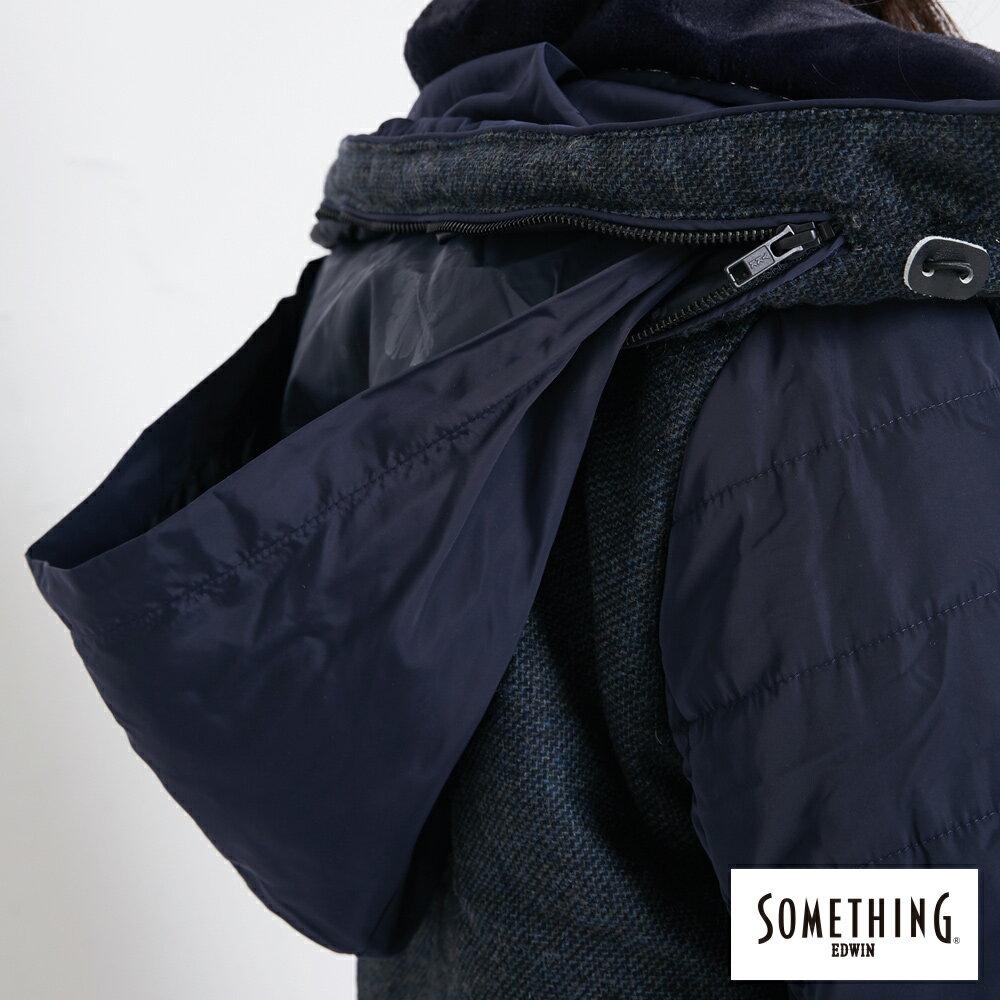 SOMETHING 混毛剪接短版 保溫防寒外套 (隱藏可收連帽) -女款 丈青色 8