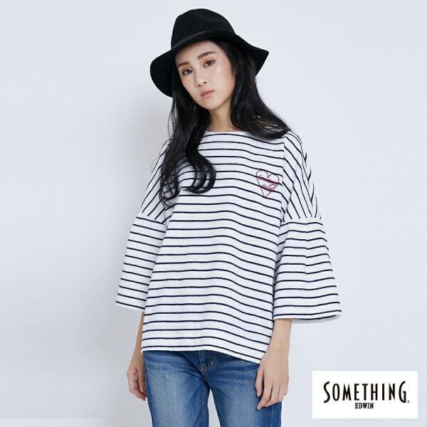 【新品上市↘】SOMETHING立體條紋寬袖T恤-女款黑色【5月會員消費滿3000元再賺15%點數】