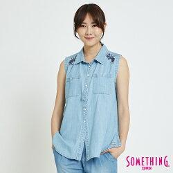 SOMETHING 花卉刺繡 無袖牛仔襯衫-女款 漂淺藍
