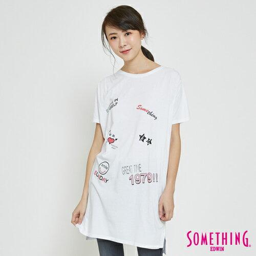 【限量5折↘】SOMETHING趣味塗鴉風格長版短袖T恤-女款白色【7月會員神券APP結帳