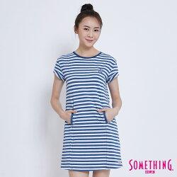 SOMETHING INDIGO條紋 長版上衣-女款 漂淺藍