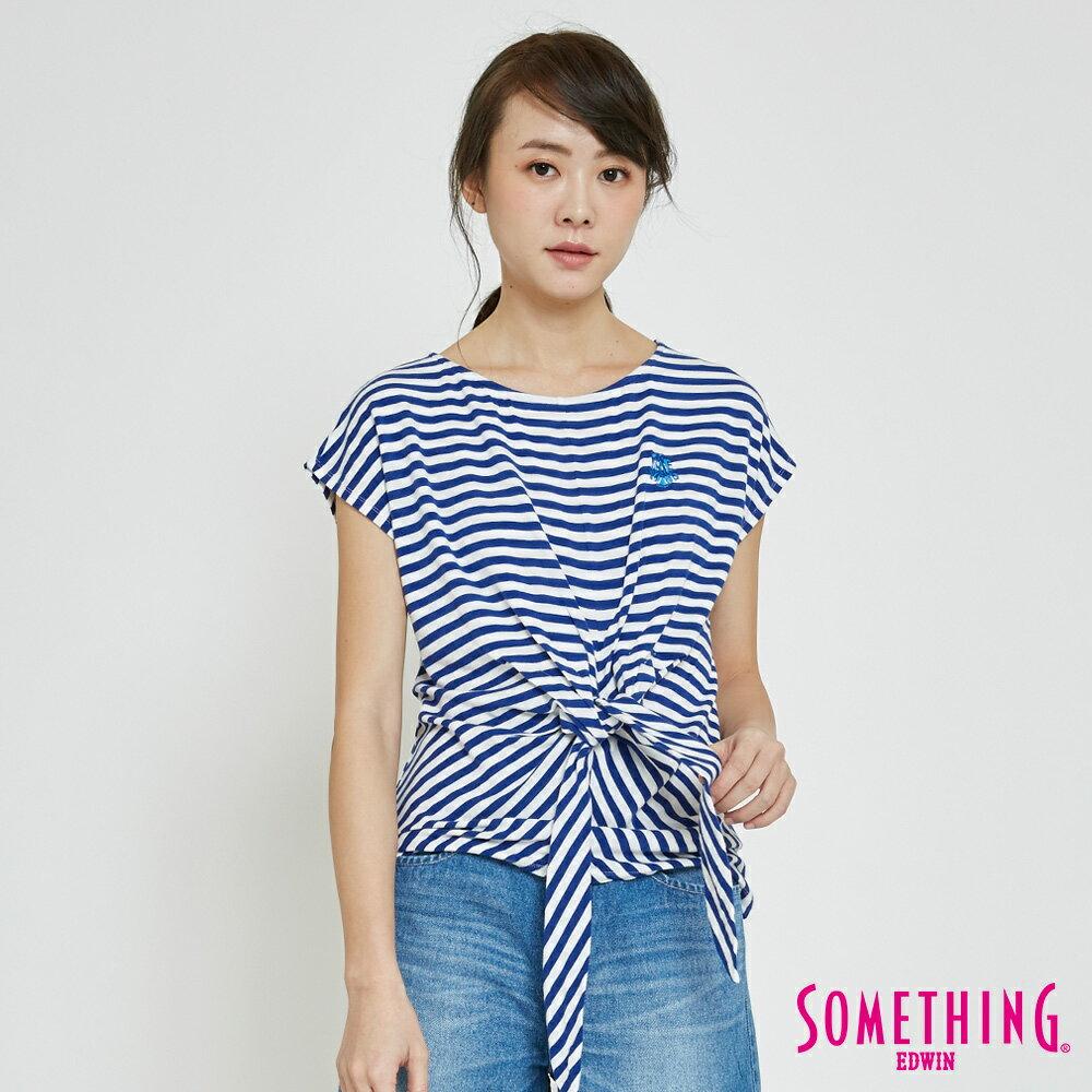 SOMETHING 率性綁結 橫紋短袖T恤-女款 藍色 0