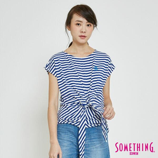 【5折優惠↘】SOMETHING率性綁結橫紋短袖T恤-女款藍色【單筆滿5030元送限量生日T】【5月會員消費滿3000元再賺15%點數】