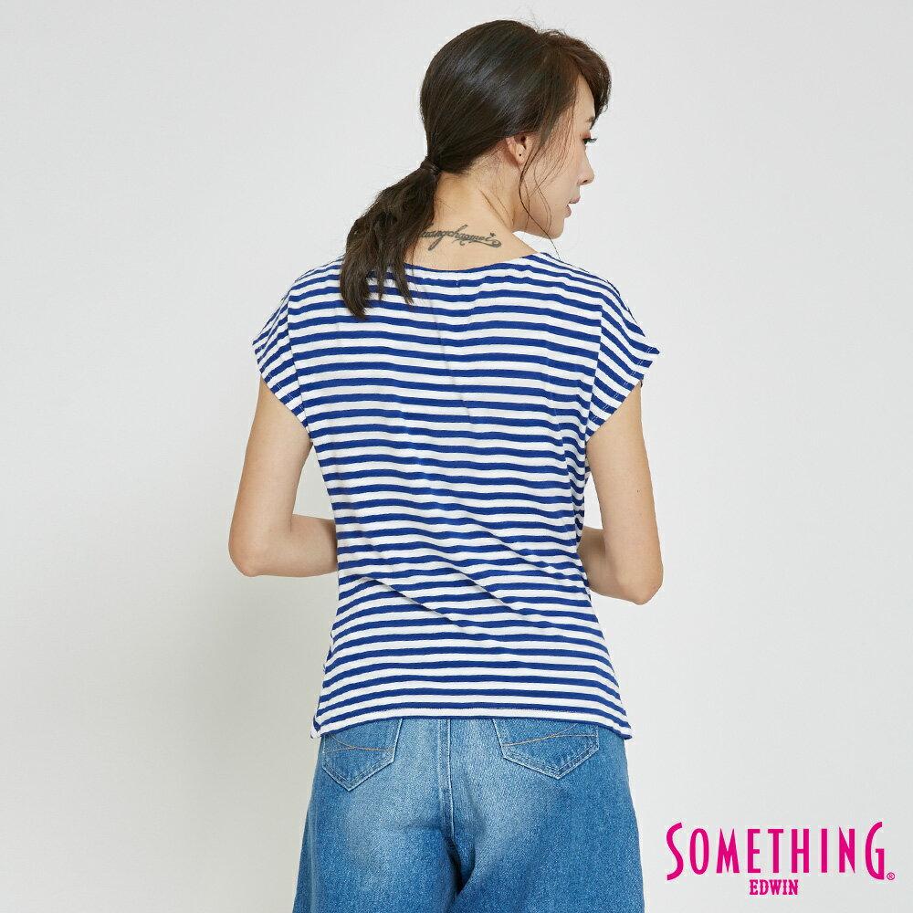 SOMETHING 率性綁結 橫紋短袖T恤-女款 藍色 1