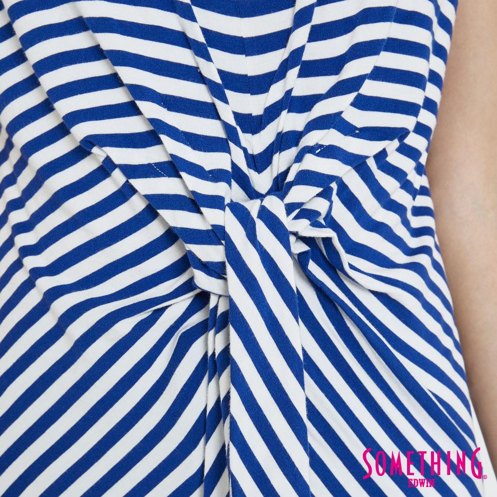 SOMETHING 率性綁結 橫紋短袖T恤-女款 藍色 6