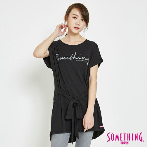 【限量5折↘】SOMETHING前綁帶寬鬆長版短袖T恤-女款黑色【7月會員神券APP結帳