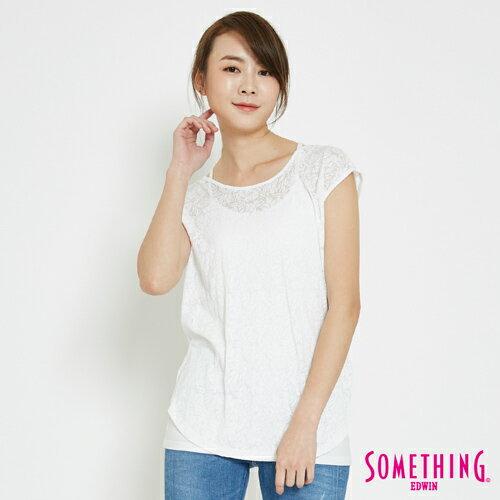 【限量5折↘】SOMETHING鳶尾燒花後綁帶寬鬆短袖T恤-女款白色【7月會員神券APP結帳