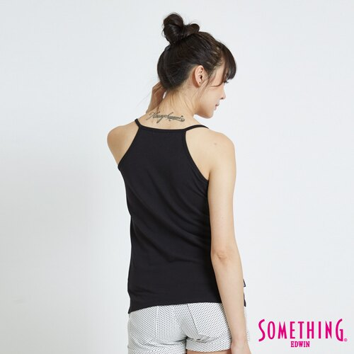 新品↘SOMETHING 基本款素面 細帶長版背心-女款 黑色 1