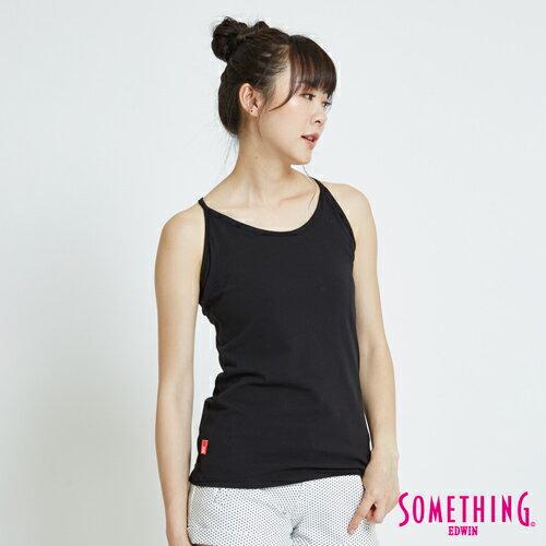新品↘SOMETHING 基本款素面 細帶長版背心-女款 黑色 0