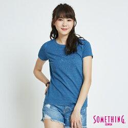 SOMETHING INDIGO靛藍繡花 短袖T恤-女款 漂淺藍