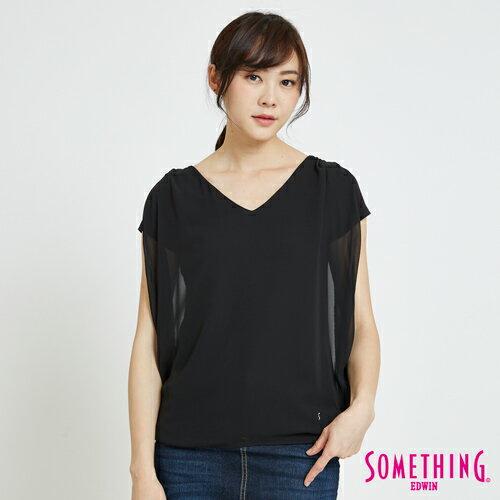 SOMETHING 異材質假兩件 短袖上衣 -女款 黑色 0