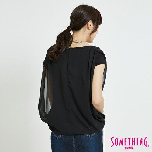 SOMETHING 異材質假兩件 短袖上衣 -女款 黑色 1