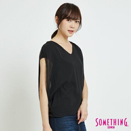 SOMETHING 異材質假兩件 短袖上衣 -女款 黑色 2