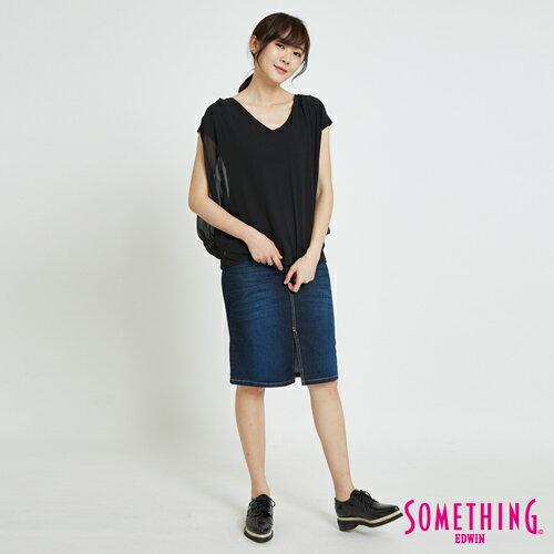 SOMETHING 異材質假兩件 短袖上衣 -女款 黑色 4