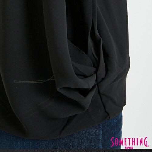 SOMETHING 異材質假兩件 短袖上衣 -女款 黑色 6