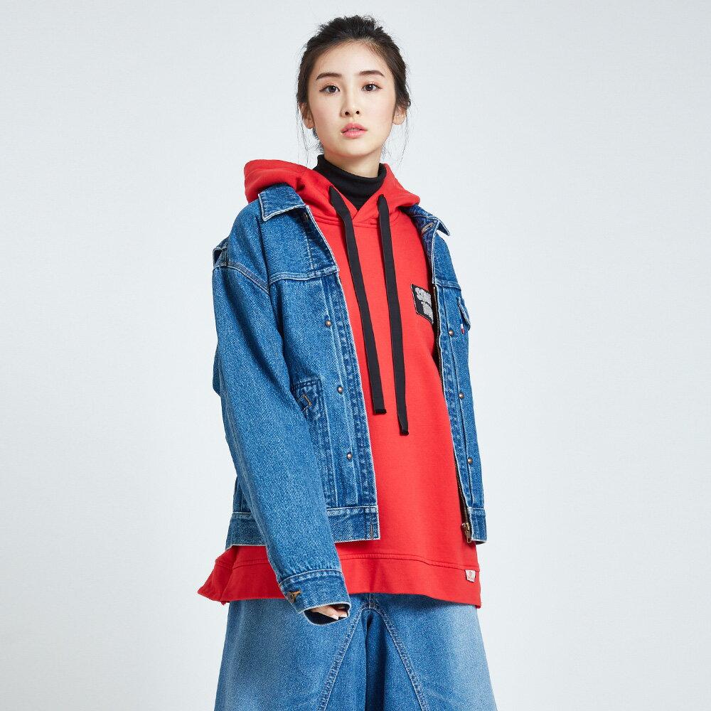 新品↘SOMETHING OVER SIZE 復古 牛仔外套-女款 中古藍