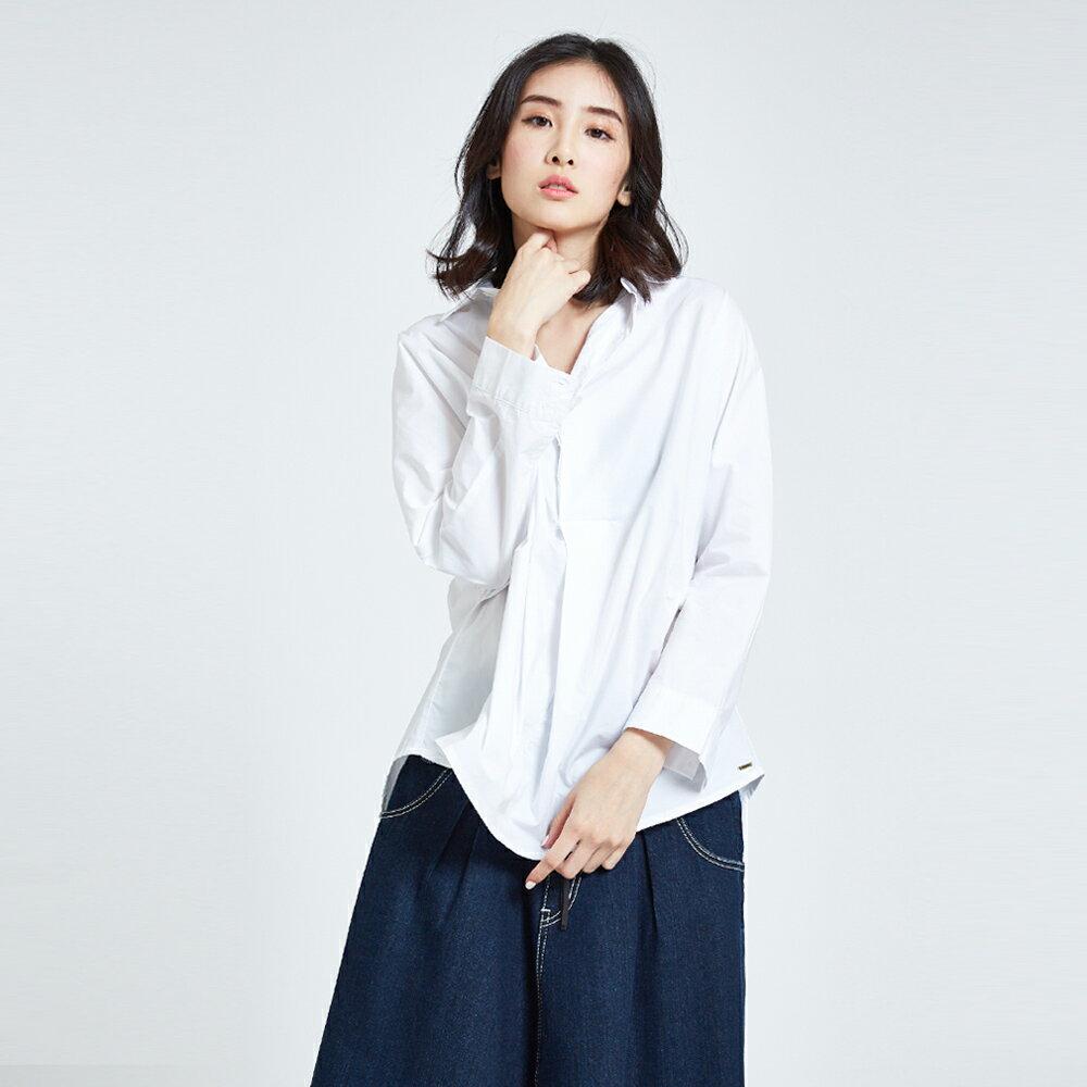 SOMETHING  優雅垂墜開襟式 長袖襯衫-女款 白色 1