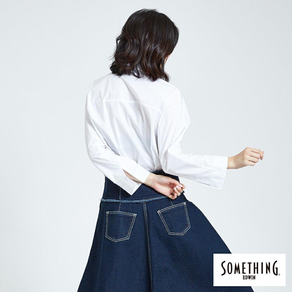 SOMETHING  優雅垂墜開襟式 長袖襯衫-女款 白色 2