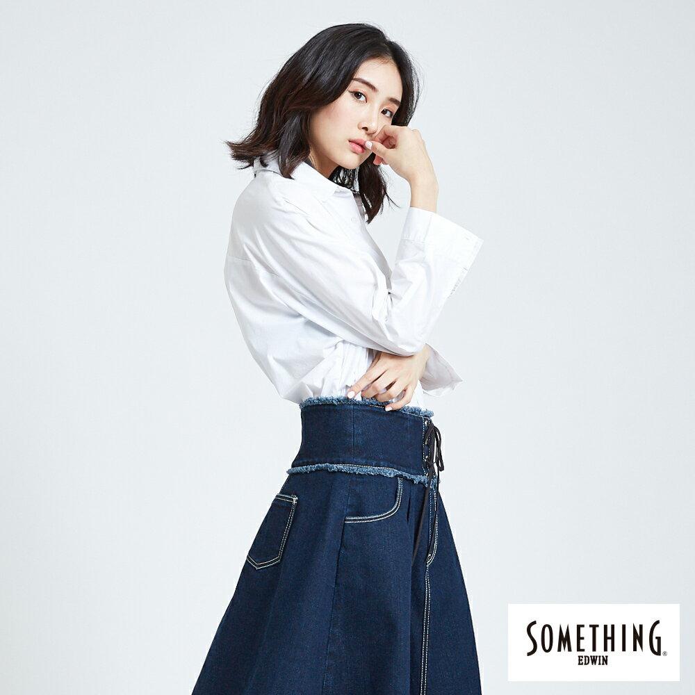 SOMETHING  優雅垂墜開襟式 長袖襯衫-女款 白色 3