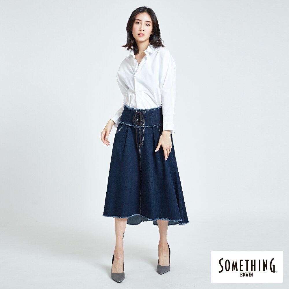 SOMETHING  優雅垂墜開襟式 長袖襯衫-女款 白色 5