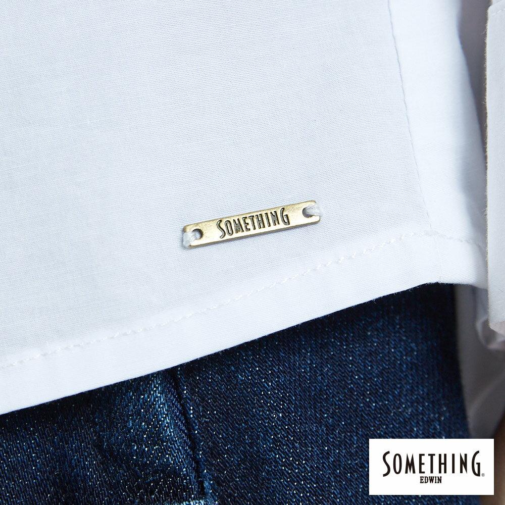 SOMETHING  優雅垂墜開襟式 長袖襯衫-女款 白色 7