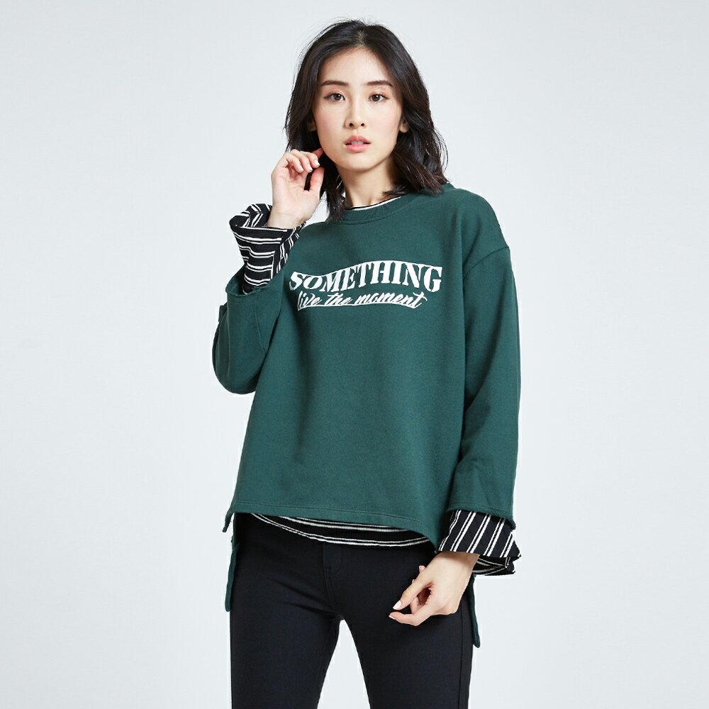 SOMETHING 休閒寬版 厚長袖T恤-女款 深綠 前短後長 1
