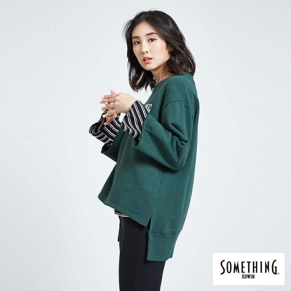 SOMETHING 休閒寬版 厚長袖T恤-女款 深綠 前短後長 3