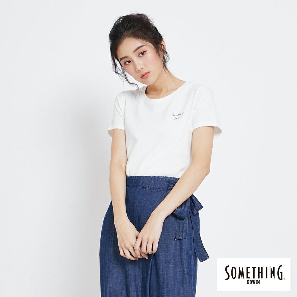 SOMETHING 簡約刺繡 短袖T恤-女款 白色 0
