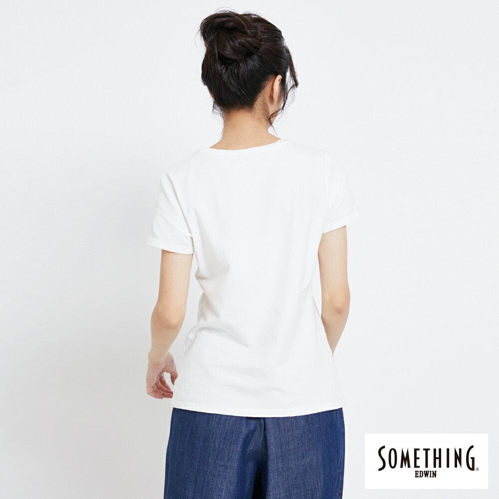 SOMETHING 簡約刺繡 短袖T恤-女款 白色 1